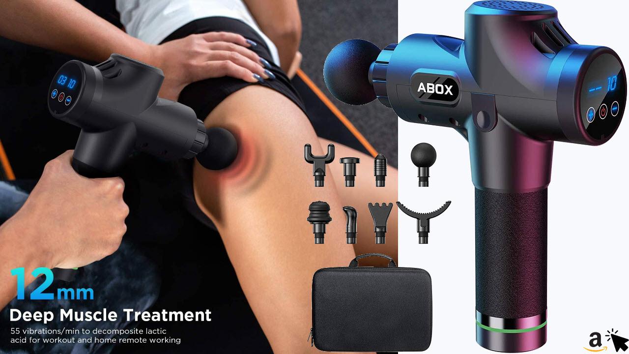 ABOX Massagepistole für Tiefenmuskulatur in Nacken, Schulter, Rücken, elektrisches Massagegerät mit 8 Massageköpfen, 30 Vibrationsgerät Geschwindigkeiten