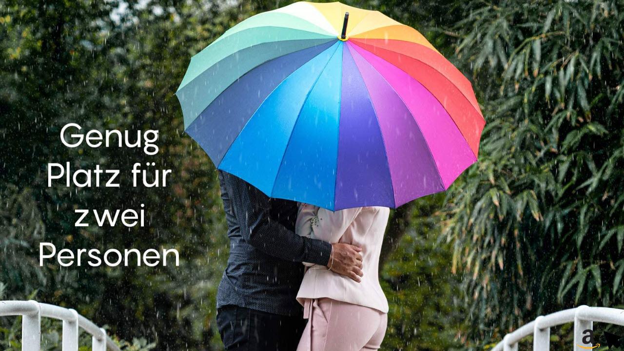 ADRIANO PORCARO, Automatik Stock-Regenschirm Regenbogen 100cm, windfest - 16 fache Verstrebung - groß sturmfest & stabil windresistent