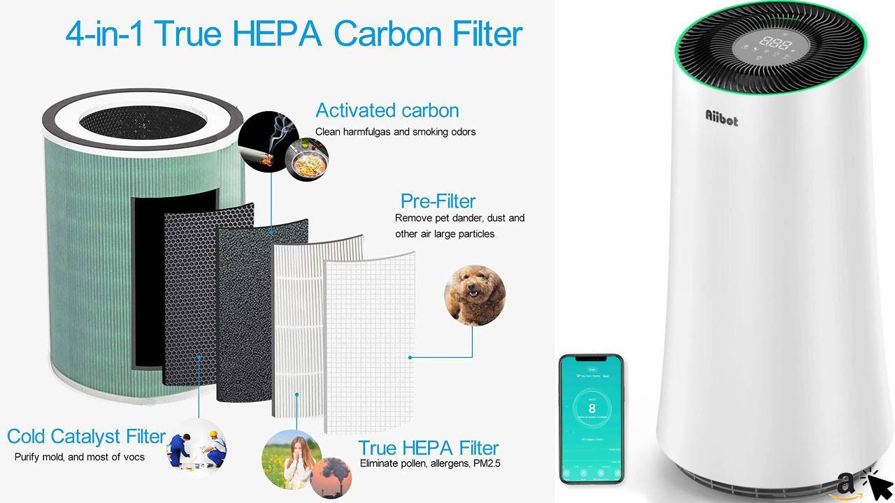 Aiibot Luftreiniger für große Räume HEPA & Aktivkohlefilter ,APP-Steuerung, Leise Schlafmodus Timer, Räume bis zu 100m²