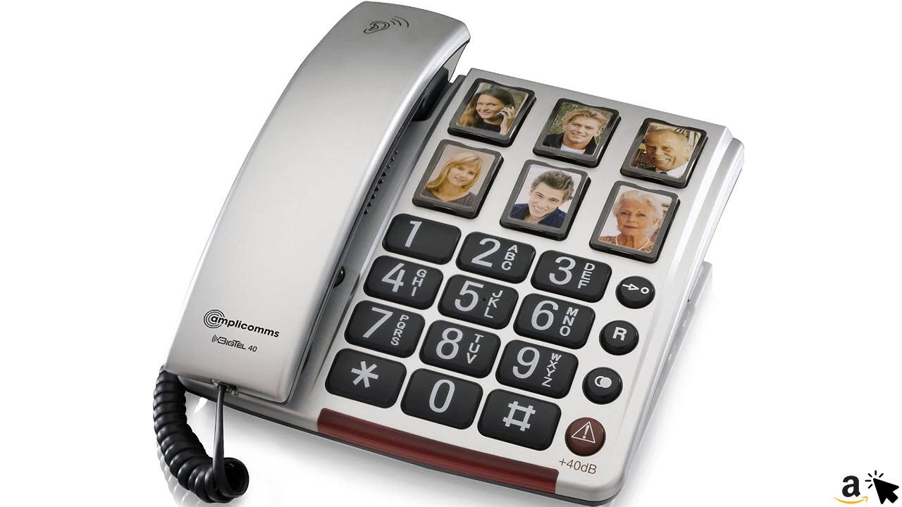 Amplicomms BIGTel 40 Plus, Seniorentelefon Großtastentelefon für Senioren mit 6 Direktwahl-Fototasten