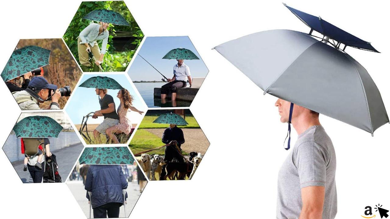 Aoneky Faltbare Sonnenschirm Regenschirm Hut Regenhut Sonnenhut für draußen Sport Golf Angeln Camping Mütze, Lustig