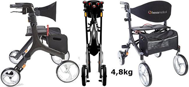 Besco Medical Carbon Leichtgewicht-Rollator Faltbar 4,8kg