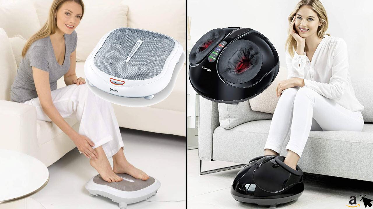Beurer FM 60 Fußmassagegerät, 18 Massageköpfe, Wärmefunktion, 2 Geschwindigkeiten & FM 90 Fußmassagegerät, mit Luftkompressionsmassage, Wärmefunktion
