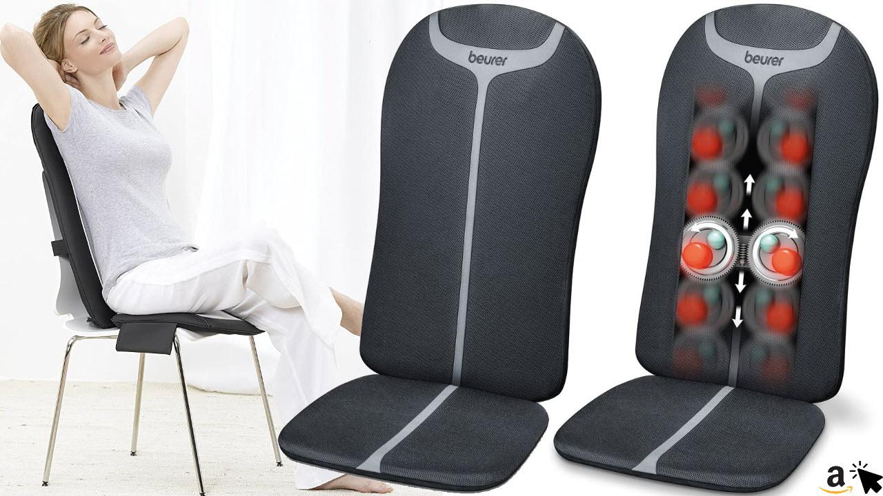 Beurer MG 205 Shiatsu Massage Sitzauflage, Rückenmassage, Licht- und Wärmefunktion, 4 Massageköpfe, mit Handschalter