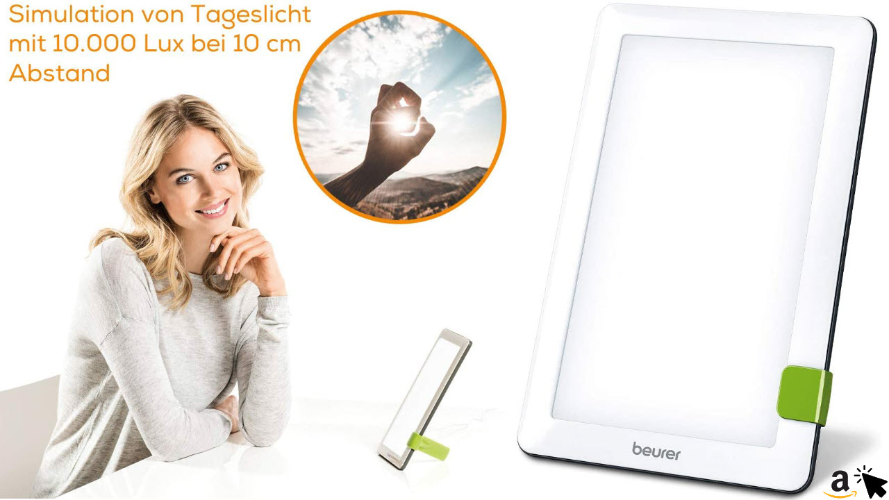 Beurer TL 30 Tageslichtlampe, Simulation von Tageslicht, Lichtstärke ca. 10.000 Lux bei 10 cm Abstand, Medizinprodukt mit LED-Technologie, flimmer- und UV-frei, mit variablem Standfuß und Tasche