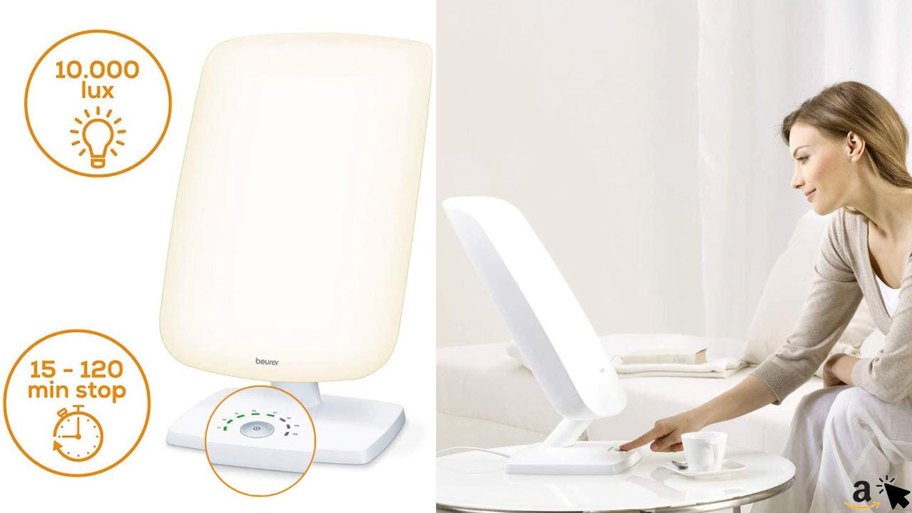 Beurer TL 90 Tageslichtlampe, 10000 LUX, Lichttherapielampe mit stufenloser Neigungsverstellung, Behandlungszeit-Anzeige