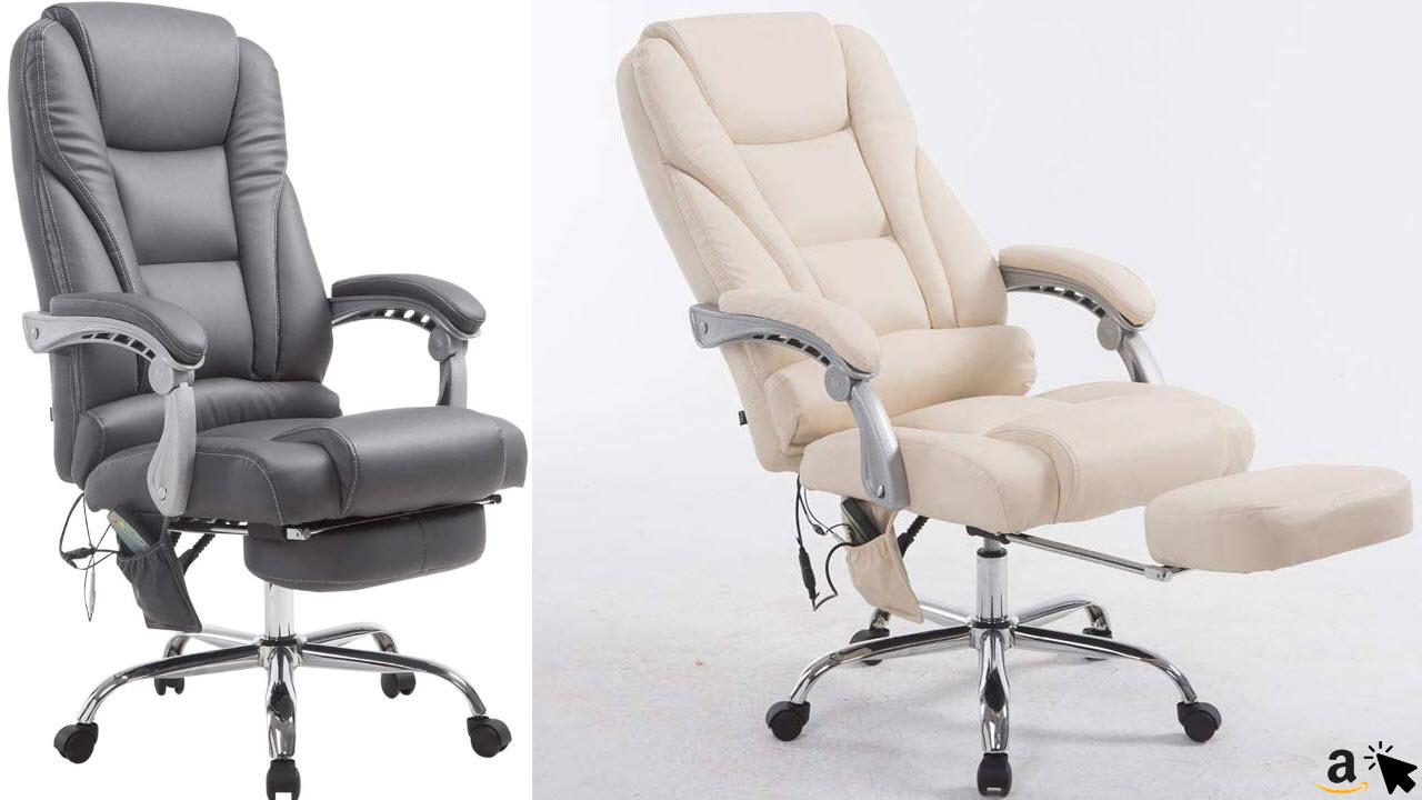 CLP Chefsessel Pacific mit Massagefunktion, Relaxsessel mit Ausziehbarer Fußablage, Bürosessel mit Kunstleder Bis 150 KG Belastbar