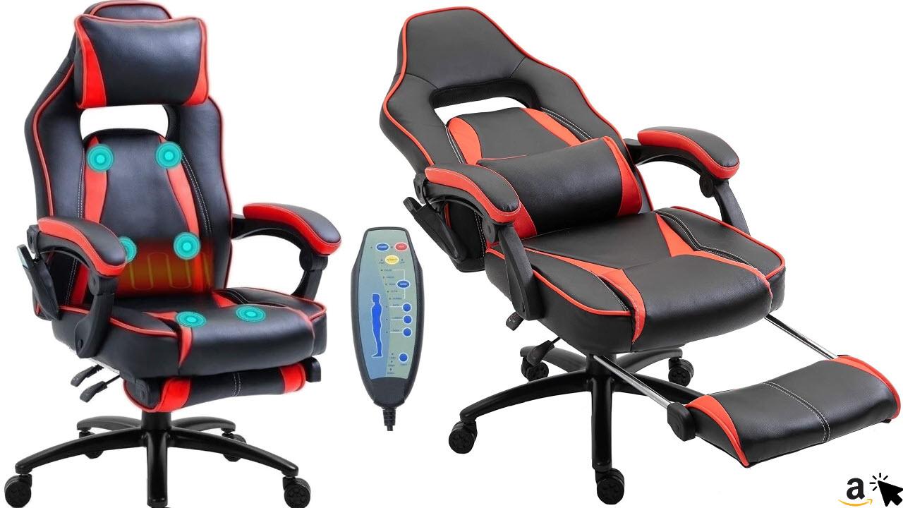 Delman Bürostuhl mit Massagefunktion & Wärmefunktion Chefsessel Ergonomisches Design Fußstütze Dicke Polsterung