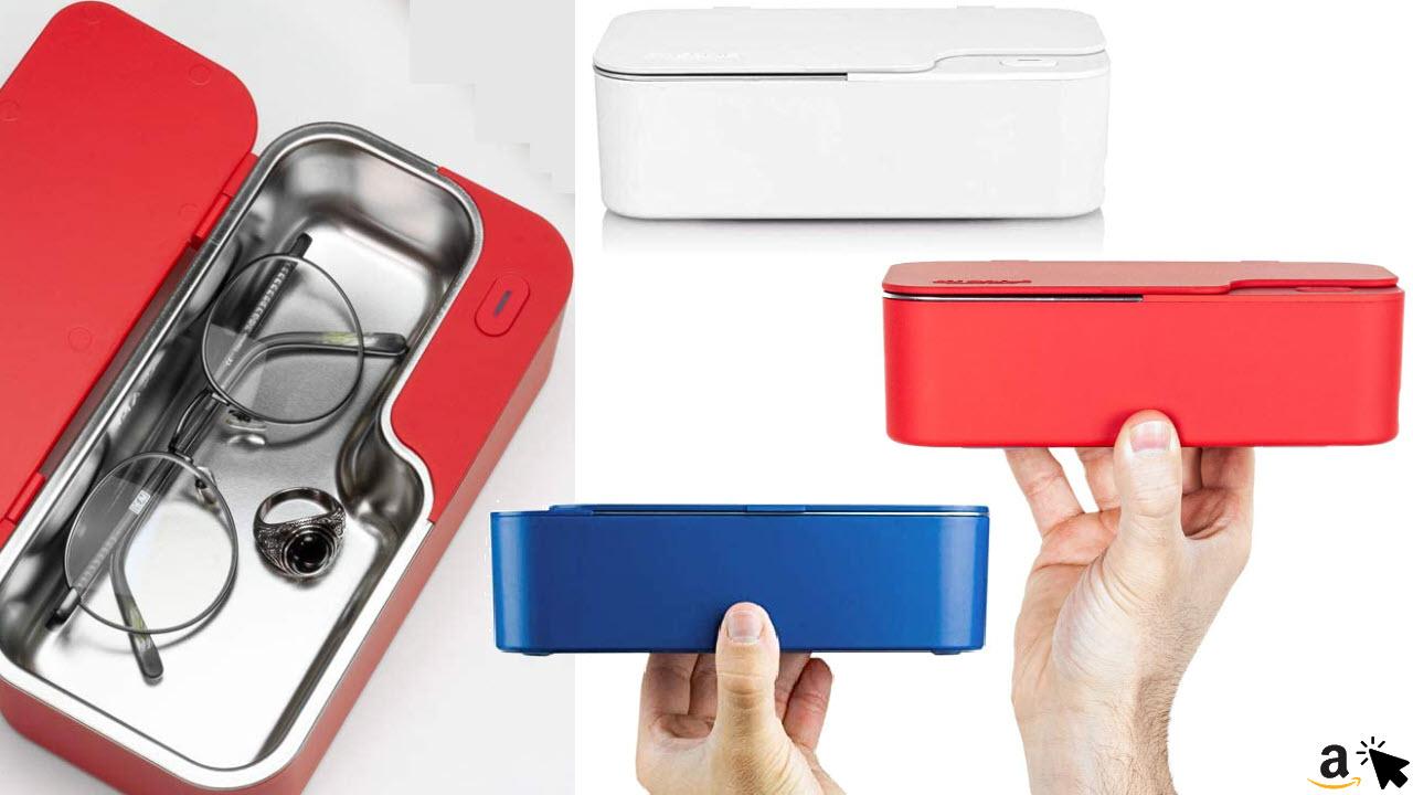 Demel Augenoptik Mini Design Ultraschallreinigungsgerät Ultraschallgerät 450ml, Ultraschallreiniger für Brillen in Weiß, Rot, Blau