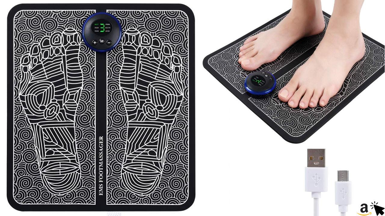 EMS-Fußmassagegerät, Durchblutungsförderer für Füße und Beine, faltbare tragbare Massage-Fußmatte, USB aufladbar