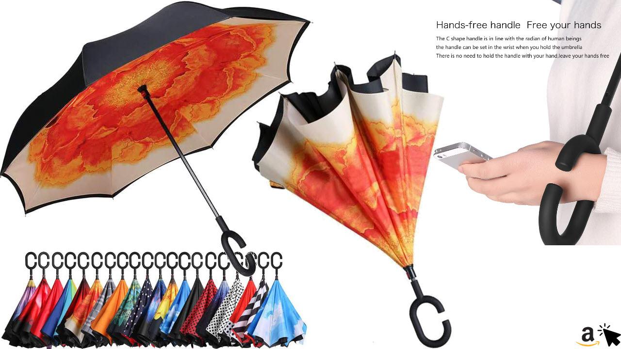 Eono Stockschirme mit umgekehrter Öffnung & Hand-Frei Griff, Winddicht Regenschirm, C Griff, Selbst Stehend, Zweiseitig, Sturmfest, gegen Regen und UV-Strahlung