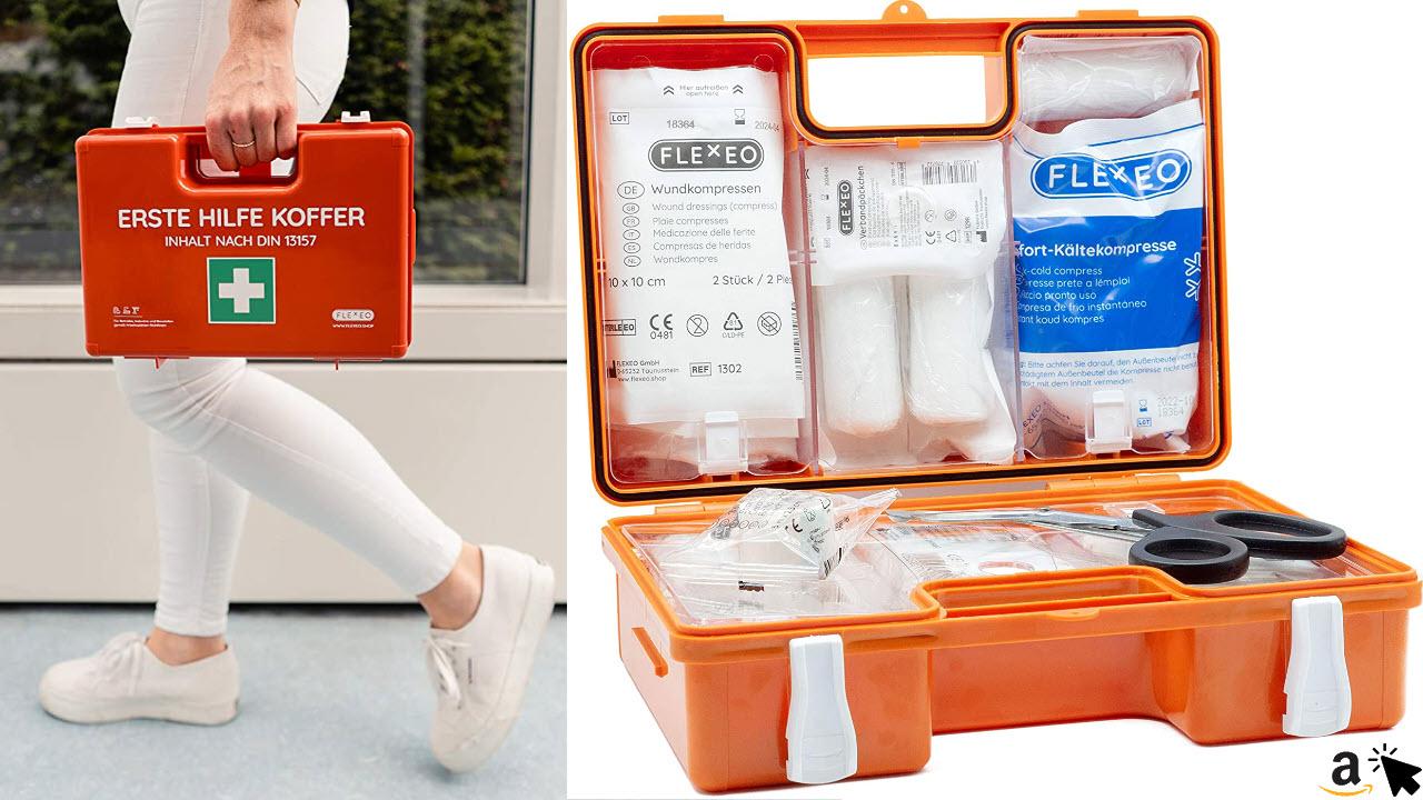 Erste-Hilfe-Koffer für Betriebe mit Inhalt nach DIN 13157 in orange, Verbandkasten gefüllt und mit Wandhalterung