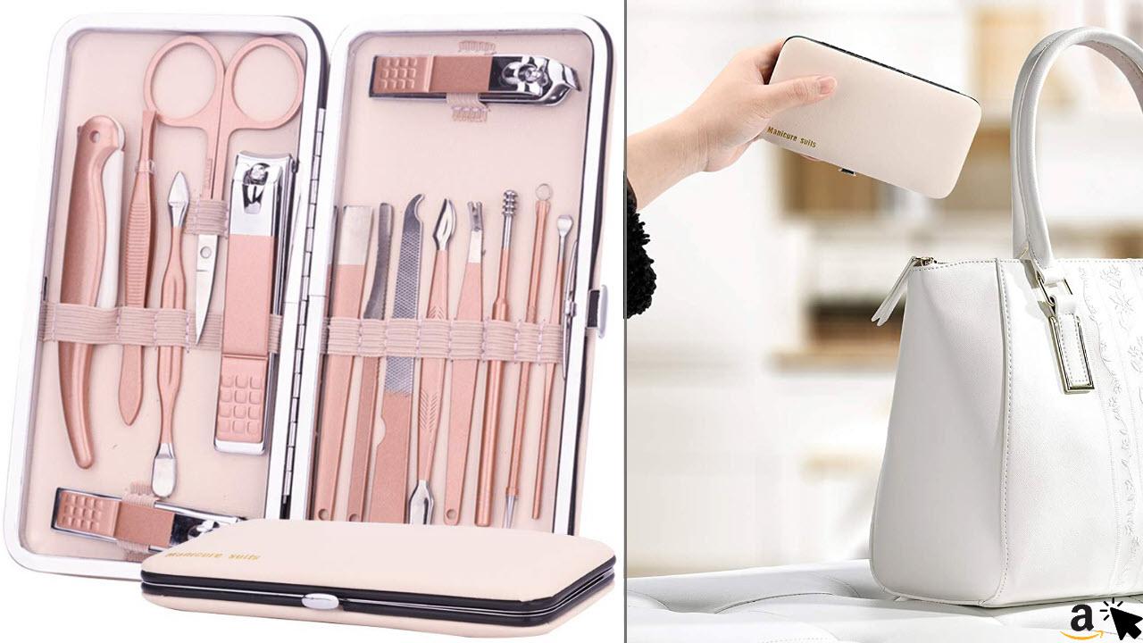 FAPPEN Maniküre Handpflege Set mit Etui, 15-teilig Nagel Schere Nagelpflege Nagelknipser, Nagelset Lederetui Set, Reise Beauty Kit