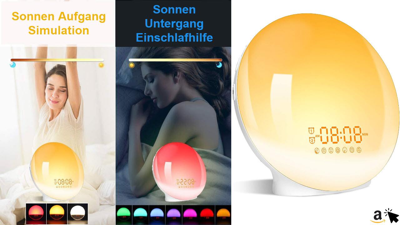GRDE Lichtwecker Wake Up Licht Wecker mit zwei Alarmen Snooze, Sonnenaufgang & Sonnenuntergang Simulation, FM Radio, 7 Natürlichen Klängen, 7 Farben, 20 Helligkeitsstufen