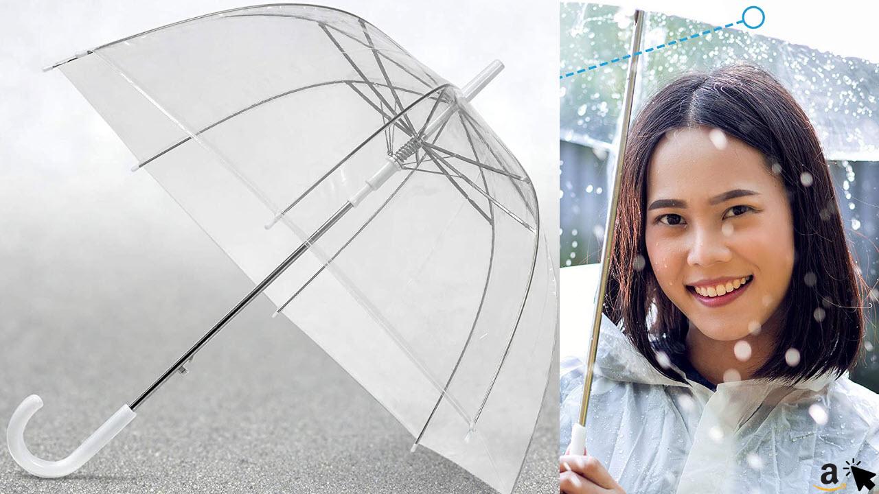 GadHome Transparenter Regenschirm, 85 cm Kuppelschirme für Frauen, durchsichtiger leichter Stockschirm, automatischer Regenschirm