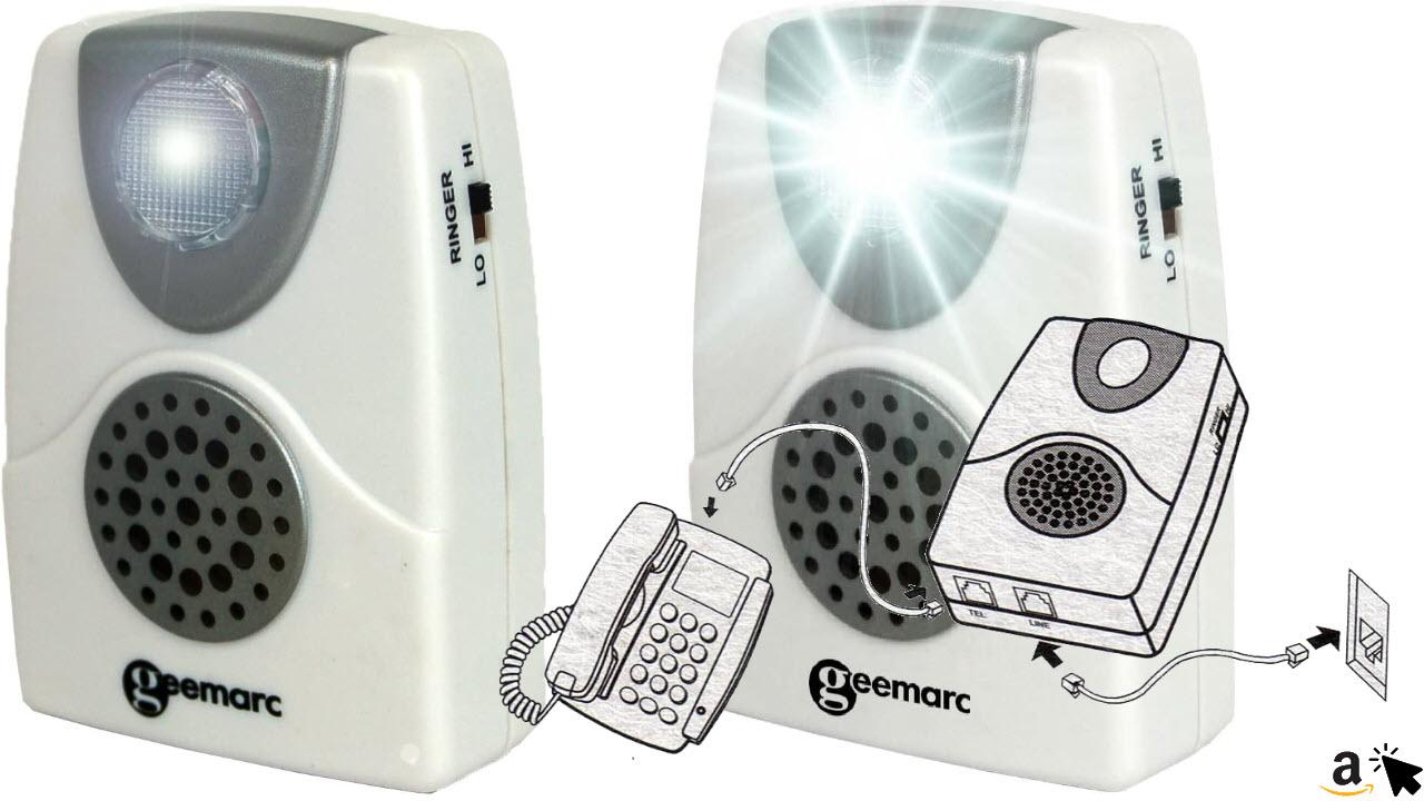 Geemarc CL11 Klingeltonverstärker bis 95 dB mit Blitzlicht Akustische Telefon-Anrufanzeige
