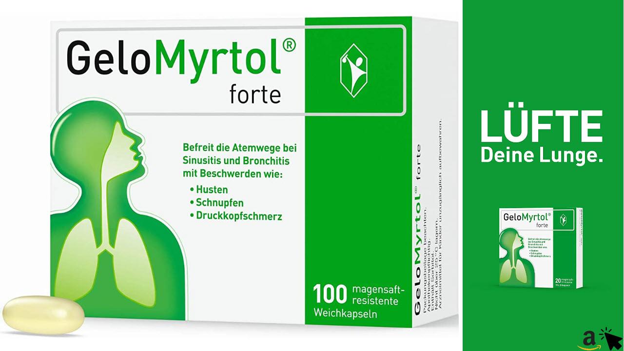 GeloMyrtol forte - Verbessert den Abtransport schädlicher Viren, Der pflanzlicher Schleimlöser bei akuten Atemwegsinfekten mit Husten, Schnupfen und Druckkopfschmerz