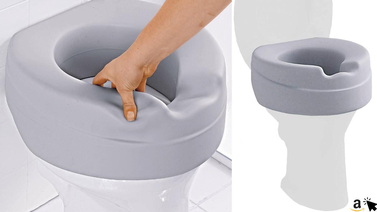 Gepolsterte Toilettensitz-Erhöhung Soft, Toilettenaufsatz Sitzerhöhung Toilettensitz WC, 10 cm Erhöhung & Hygienemulde, max. 185 kg