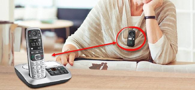 Gigaset E560A PLUS Senioren Schnurlostelefon Freisprech-Clip Hausnotruf