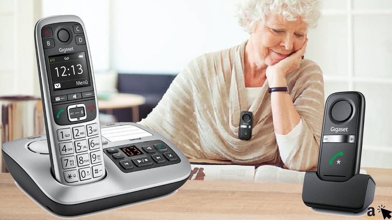 Gigaset E560A Plus Schnurloses DECT Senioren-Telefon mit Anrufbeantworter, Freisprech-Clip, Farbdisplay, extra großen Tasten & SOS-Notruf Funktion
