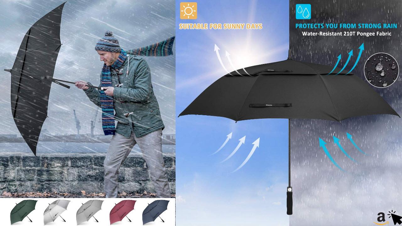 Gonex Sturmfest Golf Familien Regenschirm Groß XXL, UV-Schutz, Automatik öffnen Regenschirm mit Winddichtem, Wasserabweisendem Doppelverdeck, Eva-Griff,für 2-7 Männer, 157cm oder 173cm Durchmesser