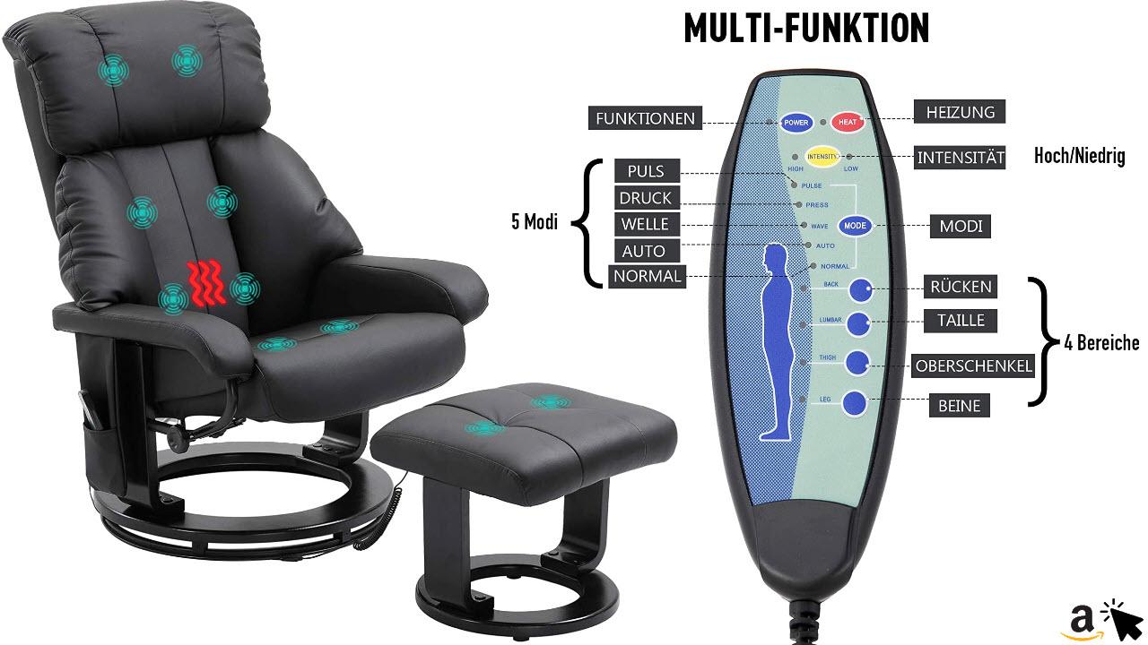 HOMCOM Massagesessel Fernsehsessel Sessel mit Hocker Massage mit Wärmefunktion und Vibration, schwark oder weiss