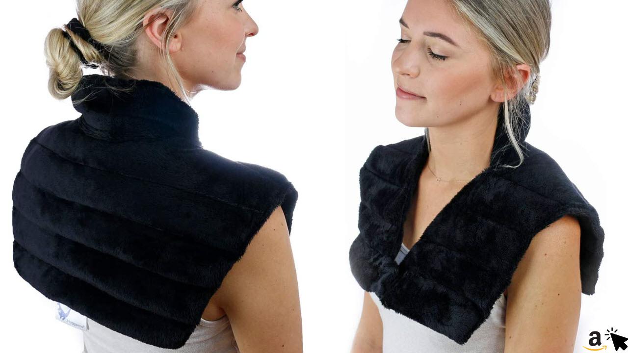 Huggaroo Wärmekissen für Nacken & Schulter, Nackenwickel für Mikrowelle, Geruchsneutral, 46 x 43 cm, Schwarz