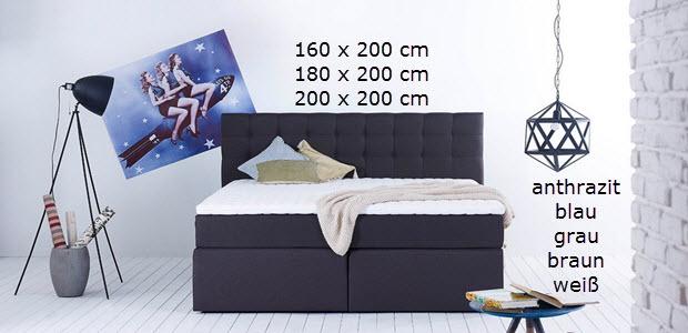 King Boxspringbett Doppelbett mit Luxus 7-Zonen Taschenfederkernmatratze und Visco-Topper