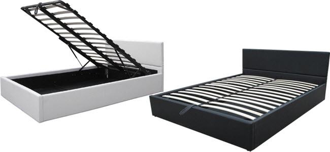 Kunstleder-Polsterbett mit integriertem Lattenrost und Bettkasten von Miadomodo