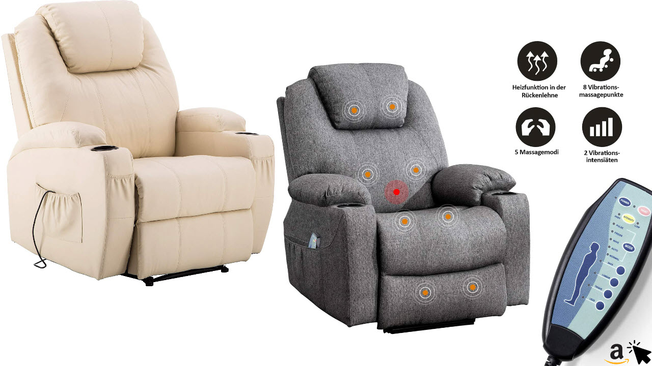 MCombo Elektrisch Relaxsessel Massagesessel Fernsehsessel mit Liegefunktion, Vibration, Heizung