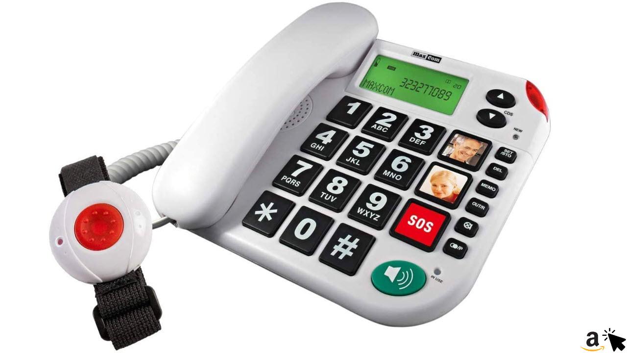 MaxCom Seniorentelefon Hausnotruf Telefon mit Notrufarmband, schnurgebundenes Festnetztelefon mit Notrufknopf und Notruf Armband, Notruftelefon für Senioren