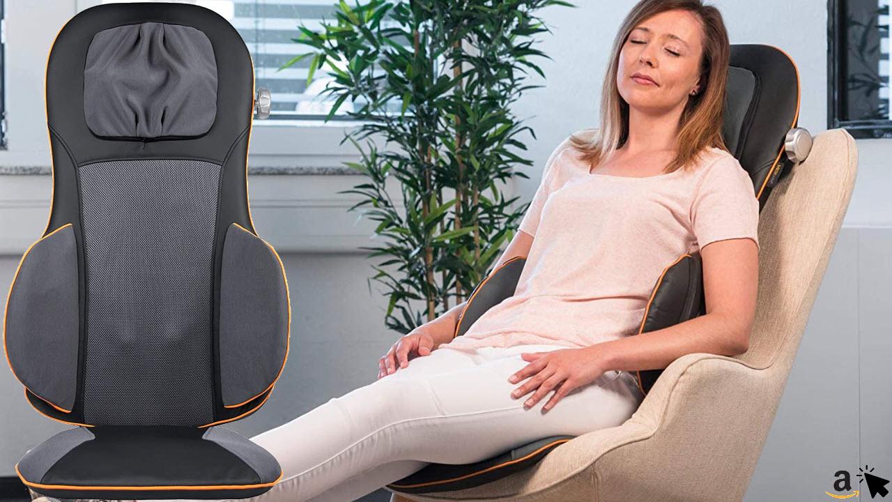 Medisana MC 825 Shiatsu Massageauflage für Stuhl & Sessel, Massagesitzauflage mit Akupressur, Nackenmassage, Wärmefunktion, 3 Intensitäten, Rotlichtfunktion, mit Fernbedienung für Rücken und Nacken