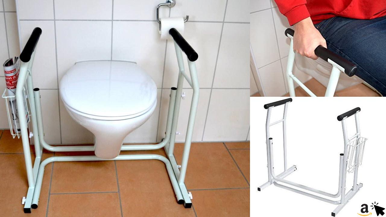 Mobile WC Klo Aufstehhilfe rutschfest mit Ablagekorb, Toiletten Stützgriff, Toilettenstützgestell