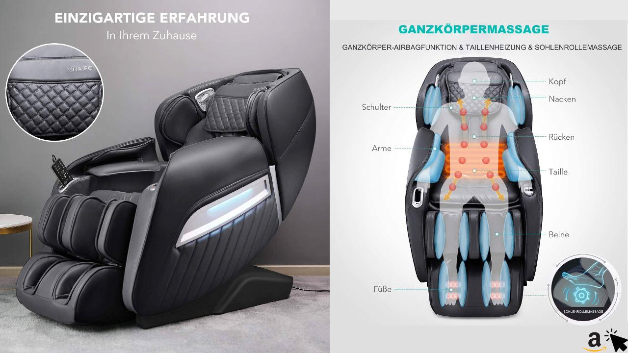Naipo A350 Massagesessel elektrisch für den Ganzkörper mit Wärmefunktion, Schwerelosigkeit, Luftdruckmassage, Shiatsu Massagestuhl Relaxsessel für Zuhause & Büro