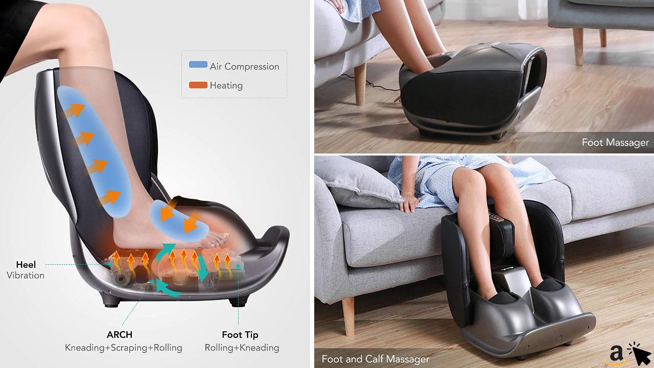Naipo Fußmassagegerät Waden-Bein Massagegerät mit faltbarem Design, Shiatsu Kneten Wärmefunktion Vibration Luft-Kompression für Büro & Zuhause