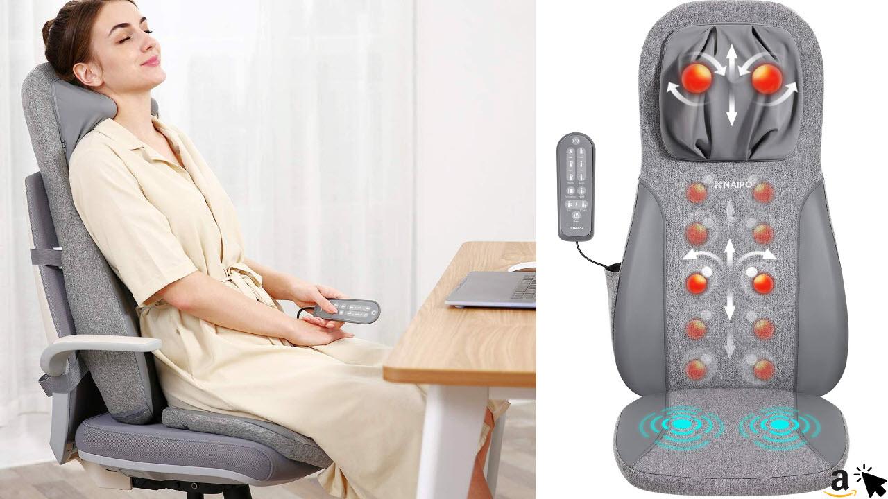 Naipo Massage-Sitzauflage mit Nackenmassage, Rückenmassage, Oberschenkel-Vibrationsmassage und Wärmefunktion für zu Hause & Büro
