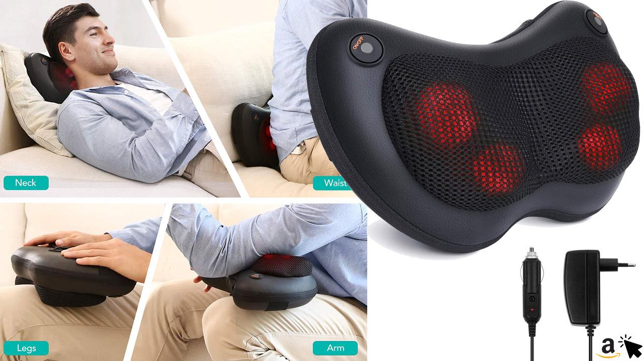 Naipo Massagekissen Shiatsu Massagegerät mit Wärmefunktion Elektrische Nackenmassagegerät 3D-rotierenden Massage für Nacken Schulter Rücken, zuHause Büro Auto