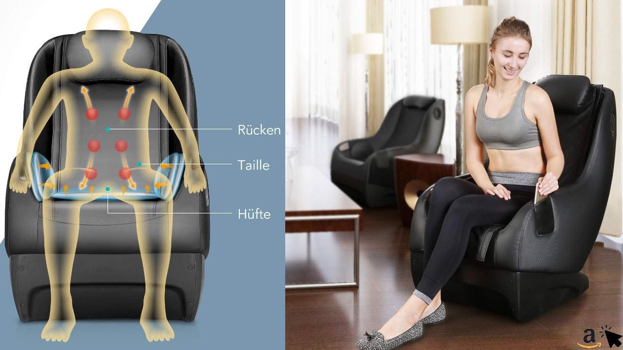 Naipo Massagesessel klein kompakt, elektrischer Shiatsu Massagestuhl mit Bluetooth klopfen kneten Luftkompression-massage komplett montiert, Massagesitz für Zuhause und Büro