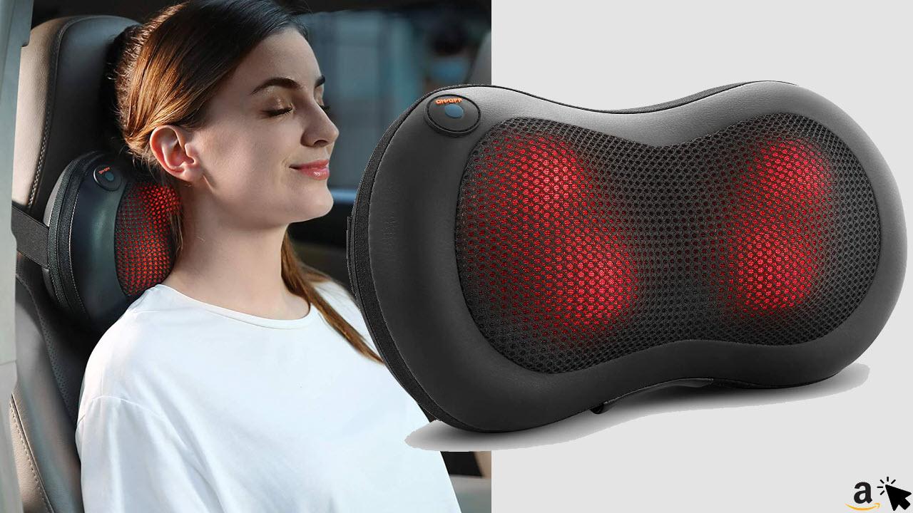 Naipo Shiatsu Massagekissen, Massagegerät mit Wärmefunktion & 4 3D-rotierenden Massageköpfen für Rücken Nacken Schulter im Auto Büro Zuhause
