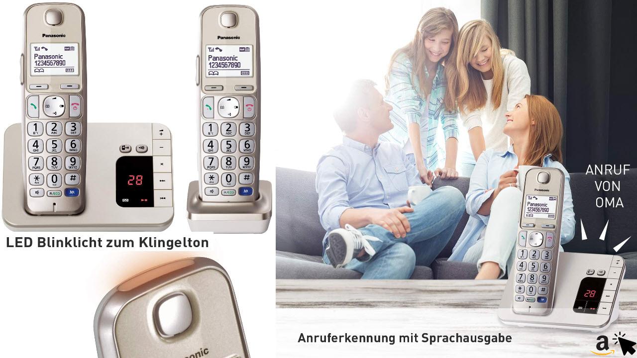 Panasonic KX-TGE222GN DECT Seniorentelefon mit Anrufbeantworter, Schnurlos, Hörgerätekompatibel, Großtastentelefon DUO, strahlungsarm