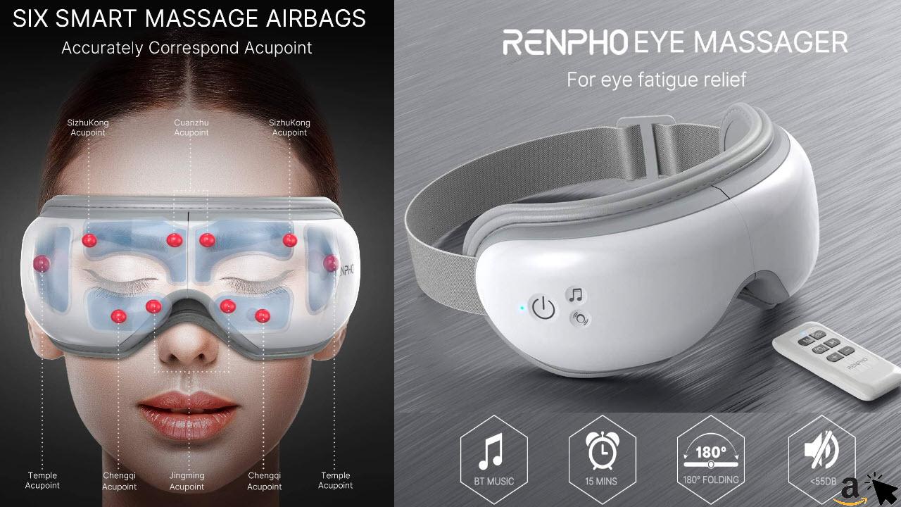 RENPHO 2.0 - Augenmassagegerät mit Fernbedienung und Wärmefunktion, Musik über Bluetooth, Wiederaufladbar, Augentherapie zur Linderung von Augenschmerzen, verbessert trockene Augen und den Schlaf