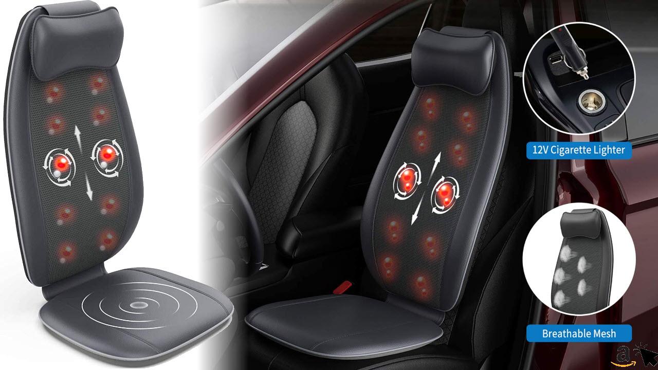 RENPHO Auto Massagesitzauflage, Rückenmassagegerät, S-Form Shiatsu-Massageauflage mit Vibration, Wärmefunktion, Tiefenknetrollen, 12V Anschluss