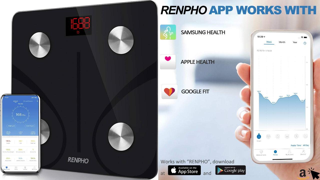 RENPHO Körperfettwaage Digital Personenwaagen Bluetooth Körperanalysewaage mit App Smart Waage für Körperfett, BMI, Muskelmasse, Protein, BMR, in schwarz oder weiß
