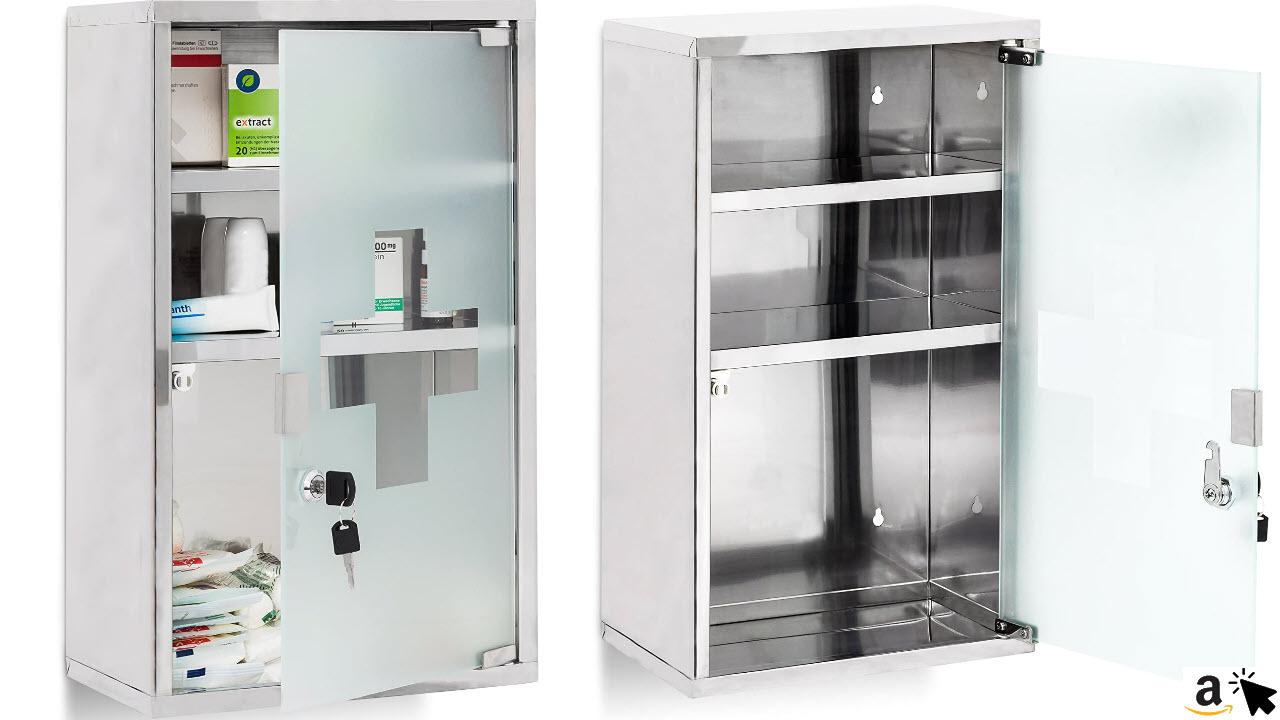 Relaxdays EMERGENCY Medizinschrank XL extra tief aus Edelstahl HxBxT 50,5 x 30 x 18 cm mit 3 Fächern und Glas-Tür zum Abschließen mit 2 Schlüsseln für kindersichere Medikamenten-Lagerung