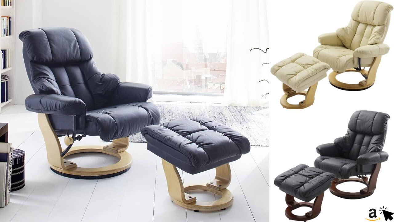 Robas Lund Leder Relaxsessel TV Sessel mit Hocker bis 130 Kg, Fernsehsessel Echtleder verschiedene Farben