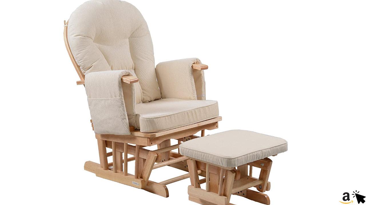 Sereno Nursing Glider Still-Gleitender Schaukelstuhl mit Gleitsperre und passendem Fußhocker