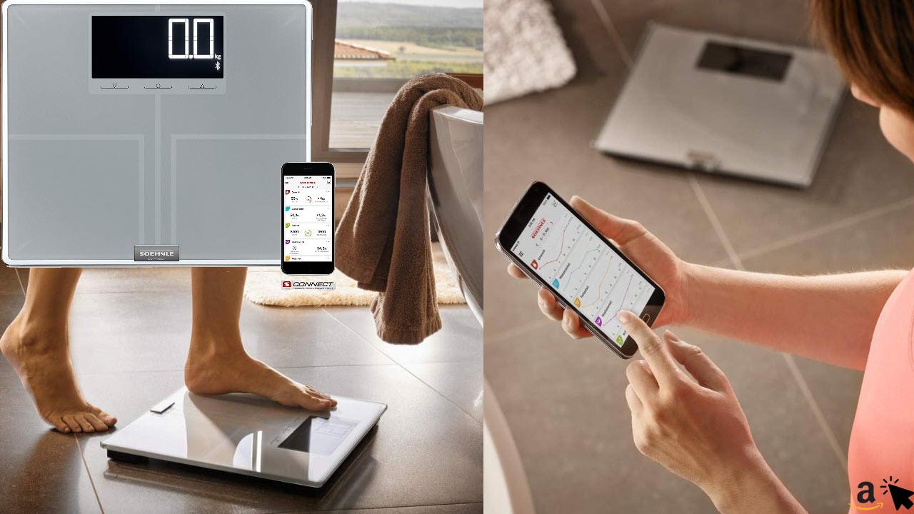 Soehnle Körperanalysewaage Shape Sense Connect 200 mit Bluetooth, digitale Personenwaage für Premium-Körperanalyse BIA, Körperwaage berechnet präzisen Kalorienbedarf
