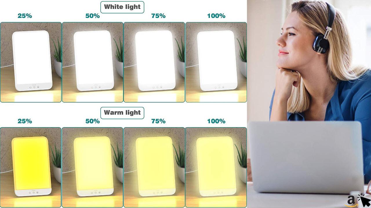 Soulcker Tageslichtlampe 10000lux mit Einstellbaren Farben,Helligkeiten und Timer-Einstellungen