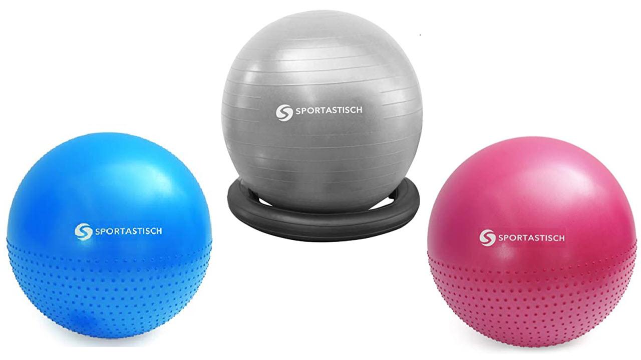 Sportastisch Anti-Burst Gymnastikball inkl Ballpumpe, Dicker Robuster 250kg Belastbarkeit Sitzball