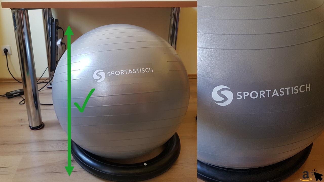 Sportastisch Gymnastikball Sitzball mit Ring höhe im Vergleich zum Bürotisch